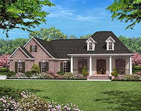 House Plan 56952 | European French Country Style Plan with 1500 Sq Ft, 3 Bed, 2 Bath, 2 Car Garage Elevation