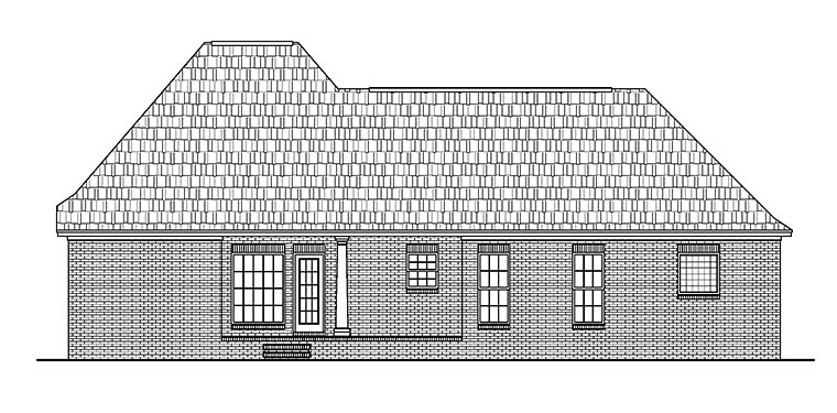 House Plan 56952 | European French Country Style Plan with 1500 Sq Ft, 3 Bed, 2 Bath, 2 Car Garage Rear Elevation