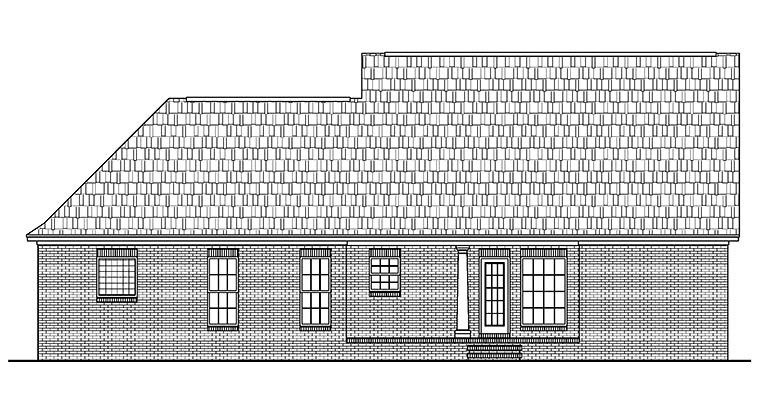 Country Ranch Traditional Rear Elevation of Plan 56953