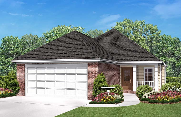 Country Ranch Traditional Elevation of Plan 56954