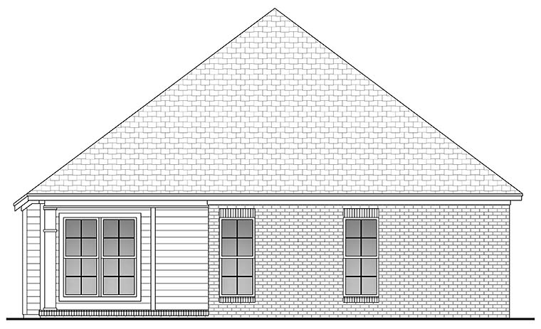 Country , Ranch , Traditional House Plan 56954 with 3 Beds, 2 Baths, 2 Car Garage Rear Elevation