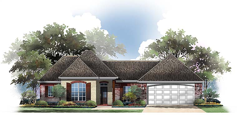 Country, European, French Country House Plan 56955 with 3 Beds, 2 Baths, 2 Car Garage Elevation