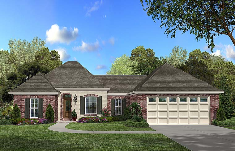 Country, European, French Country House Plan 56956 with 3 Beds, 2 Baths, 2 Car Garage Elevation