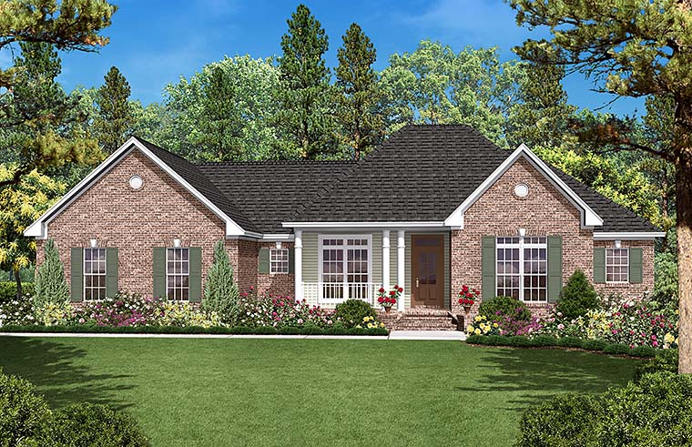 Country Ranch Traditional House Plan 56964 Elevation