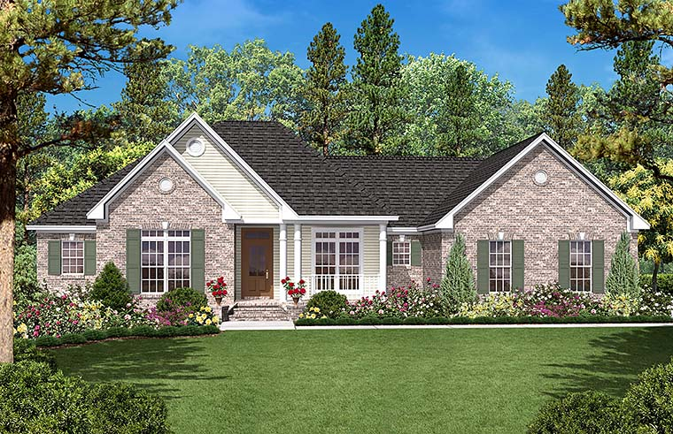 Country Ranch Traditional House Plan 56965 Elevation