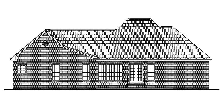 Country Ranch Traditional House Plan 56965 Rear Elevation