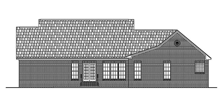 Country Ranch Traditional Rear Elevation of Plan 56966