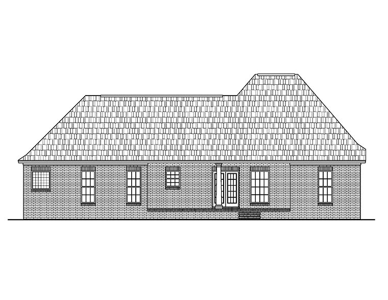 European, French Country House Plan 56967 with 3 Beds, 2 Baths, 2 Car Garage Rear Elevation