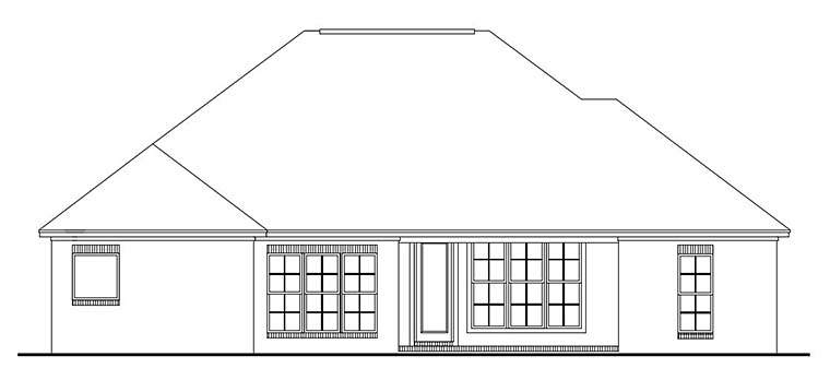 Country, European, French Country House Plan 56968 with 3 Beds, 2 Baths, 2 Car Garage Rear Elevation