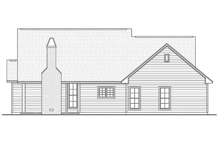 Cottage, Country, Craftsman House Plan 56970 with 3 Beds, 2 Baths, 2 Car Garage Rear Elevation