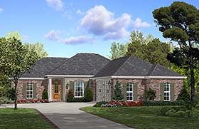 House Plan 56973   Country European French Country Style Plan with 1600 Sq Ft, 3 Bedrooms, 2 Bathrooms, 2 Car Garage Elevation