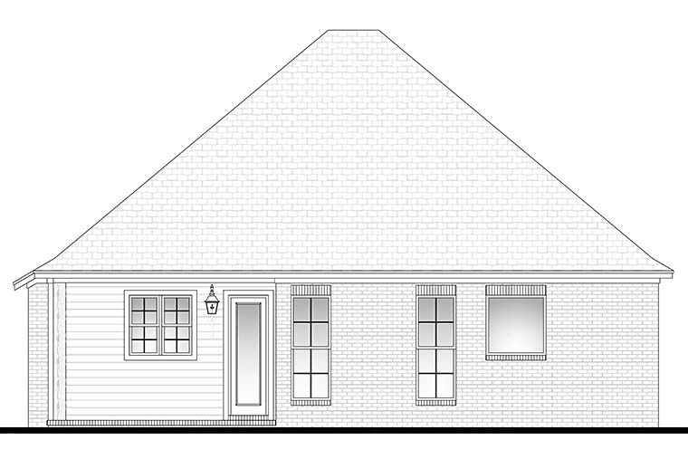 Cottage, Country, Craftsman, Traditional House Plan 56975 with 3 Beds, 2 Baths, 2 Car Garage Rear Elevation