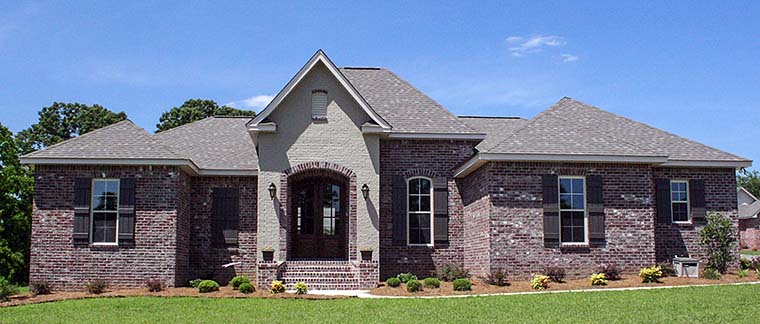 Country, European, French Country House Plan 56976 with 3 Beds, 2 Baths, 2 Car Garage Front Elevation