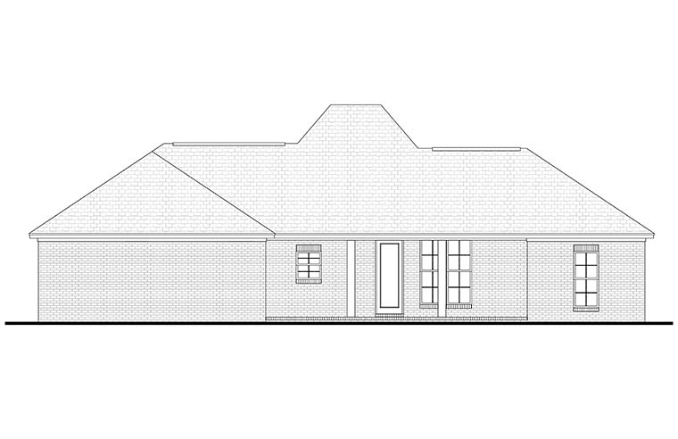 Country, European, French Country House Plan 56976 with 3 Beds, 2 Baths, 2 Car Garage Rear Elevation