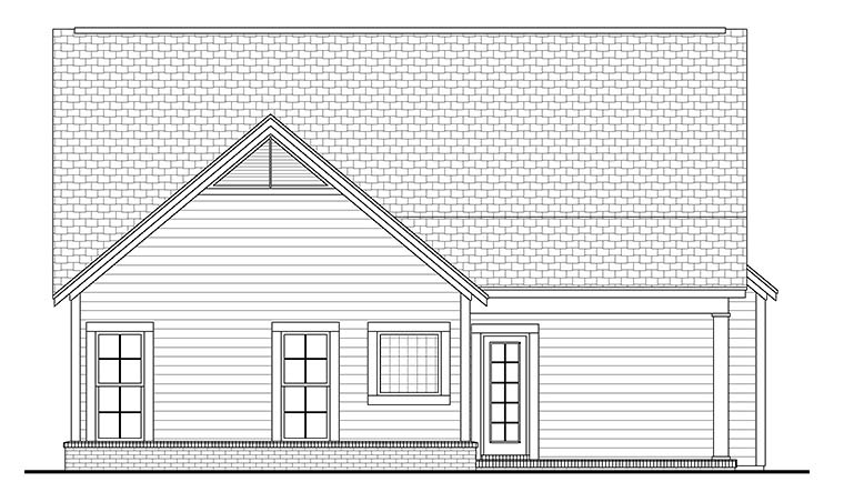Bungalow , Cottage , Country , Craftsman , Southern House Plan 56980 with 3 Beds, 2 Baths, 2 Car Garage Rear Elevation