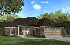 Country , French Country , Southern House Plan 56981 with 3 Beds, 2 Baths, 2 Car Garage Elevation
