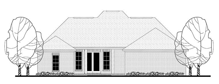 European French Country Traditional House Plan 56982 Rear Elevation