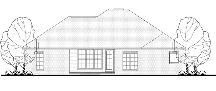 Country , Craftsman , Traditional , Rear Elevation of Plan 56984