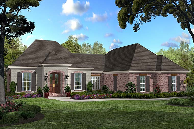 Country , French Country , Southern House Plan 56985 with 3 Beds, 2 Baths, 2 Car Garage Elevation