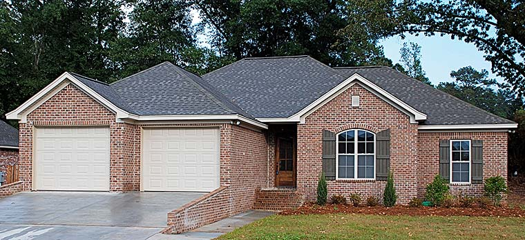 Country, European, French Country House Plan 56986 with 4 Beds, 2 Baths, 2 Car Garage Elevation