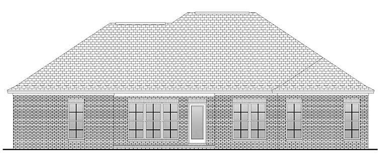 Country, European, French Country House Plan 56986 with 4 Beds, 2 Baths, 2 Car Garage Rear Elevation