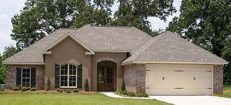 Country, French Country House Plan 56988 with 4 Beds, 2 Baths, 2 Car Garage Front Elevation