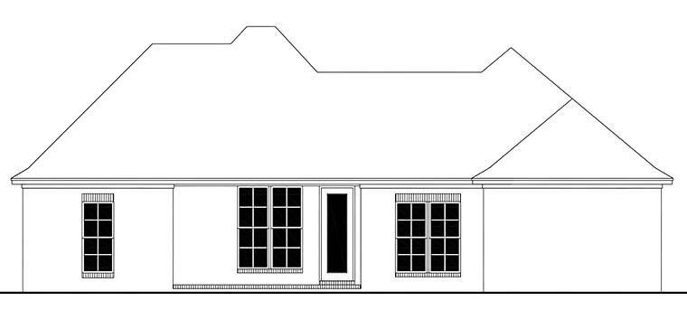 Country European French Country Rear Elevation of Plan 56989