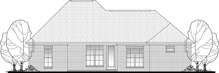 Country French Country Traditional Rear Elevation of Plan 56991