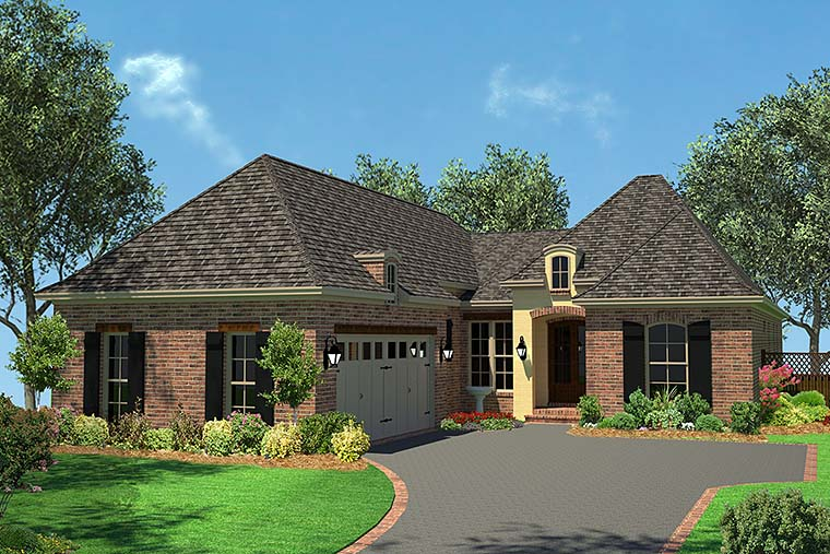 Country, French Country, Traditional House Plan 56992 with 3 Beds , 2 Baths , 2 Car Garage Elevation