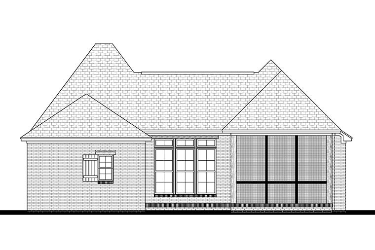 Country, French Country, Traditional House Plan 56992 with 3 Beds, 2 Baths, 2 Car Garage Rear Elevation