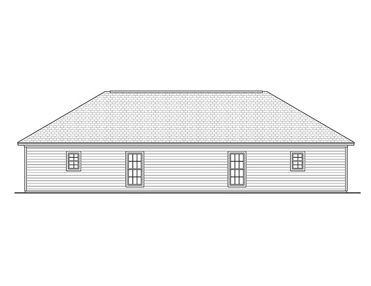Country Ranch Multi-Family Plan 56995 Rear Elevation
