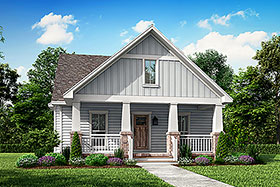 House Plan 56996 | Cottage, Country, Craftsman Style House Plan with 1800 Sq Ft, 3 Bed, 3 Bath, 2 Car Garage Elevation