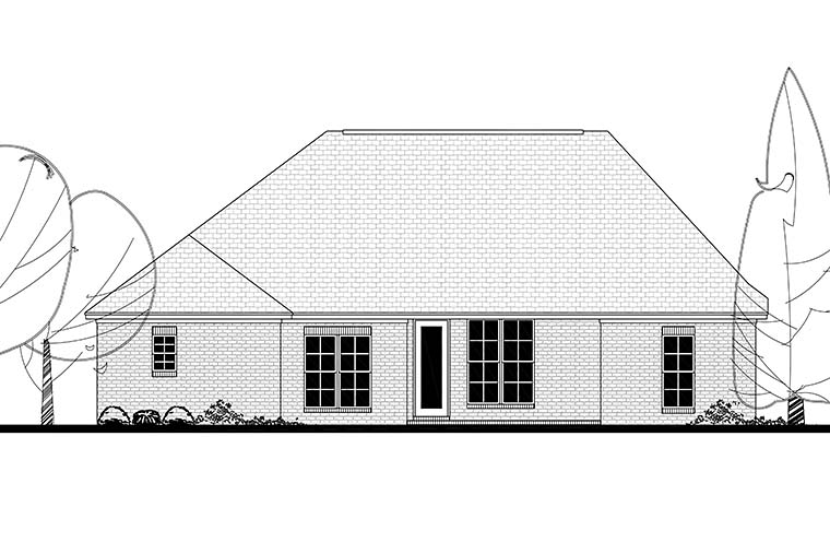 Country French Country Traditional Rear Elevation of Plan 56998