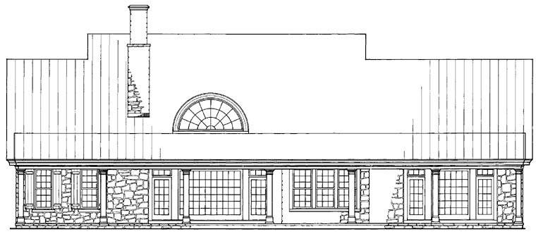 Traditional Rear Elevation of Plan 57030