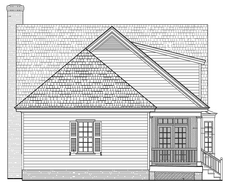 Cottage Country Farmhouse Traditional House Plan 57044 Rear Elevation