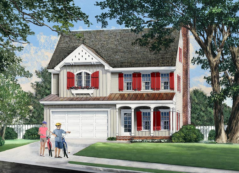 Farmhouse Traditional House Plan 57053 Elevation
