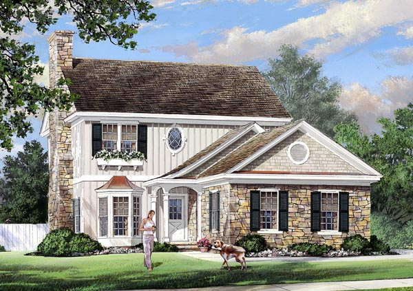 Traditional House Plan 57067 with 3 Beds, 3 Baths, 2 Car Garage Elevation