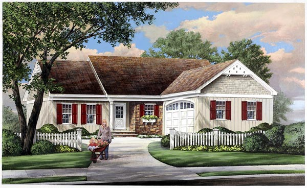 Ranch Traditional Elevation of Plan 57069