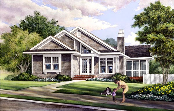 Contemporary, Craftsman House Plan 57070 with 3 Beds, 2 Baths Front Elevation