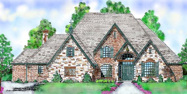 European House Plan 57103 Elevation