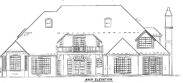 European House Plan 57112 Rear Elevation