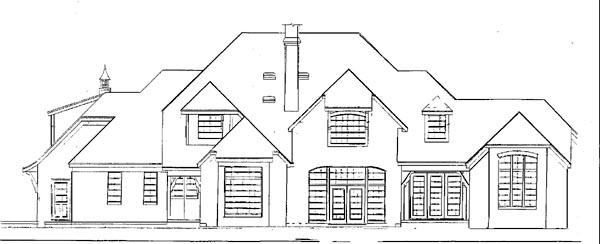 European House Plan 57139 Rear Elevation