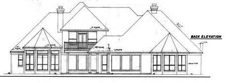 European Rear Elevation of Plan 57157