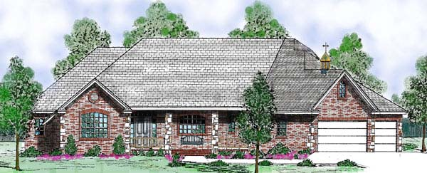 Traditional House Plan 57184 with 4 Beds, 3 Baths, 3 Car Garage Elevation