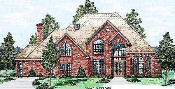European House Plan 57202 Elevation