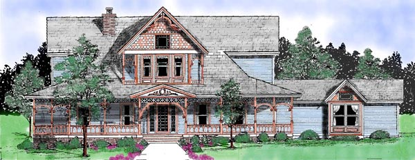 Victorian House Plan 57208 with 3 Beds, 3 Baths, 2 Car Garage Elevation