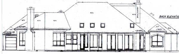 Mediterranean House Plan 57213 with 3 Beds, 3 Baths, 3 Car Garage Rear Elevation