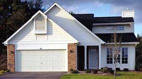 House Plan 57313 | European Style House Plan with 1317 Sq Ft, 2 Bed, 2 Bath, 2 Car Garage Elevation