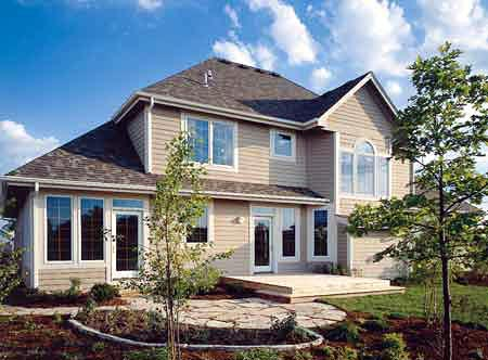 Country House Plan 57322 with 3 Beds, 3 Baths, 2 Car Garage Rear Elevation