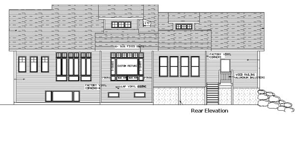 Bungalow , Country , Craftsman , Rear Elevation of Plan 57332